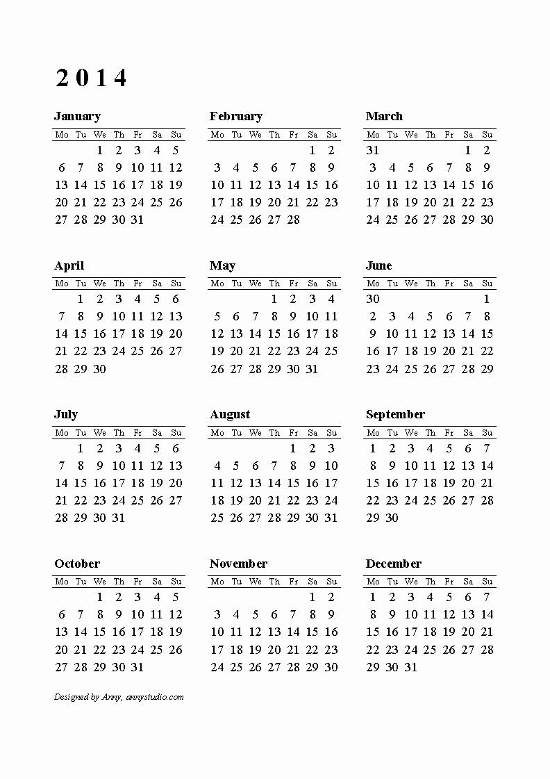 One Page Year Calendar 2017 Beautiful 2014 Calendar Printable E Page