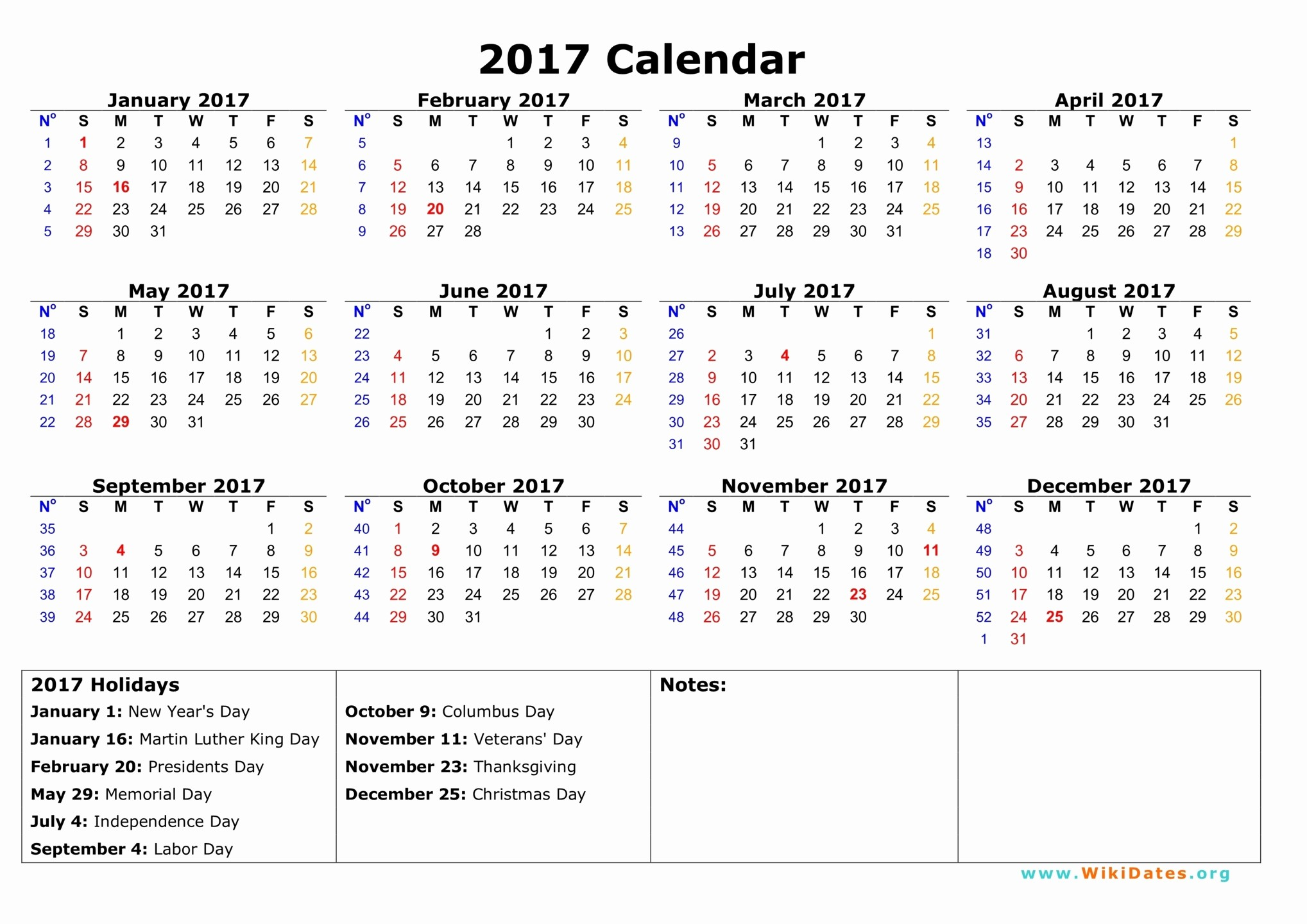 One Page Year Calendar 2017 Beautiful 2017 Calendar