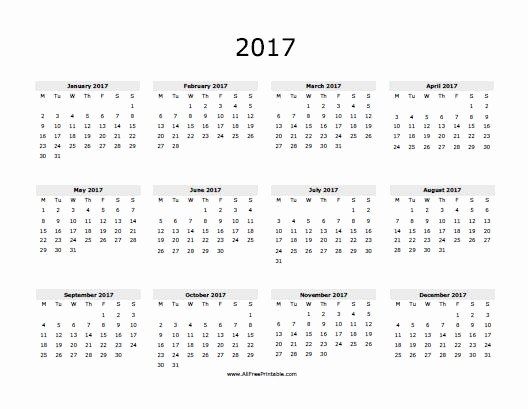 One Page Year Calendar 2017 Beautiful 7 Best Of 2017 Yearly Calendar Printable E Page