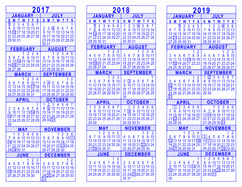 One Page Year Calendar 2017 Best Of 2017 2018 2019 3 Year Calendar