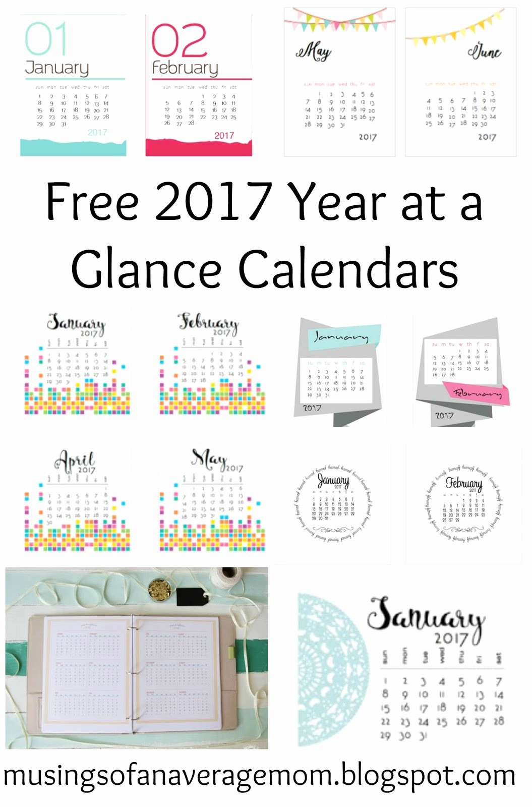 One Page Year Calendar 2017 Elegant Musings Of An Average Mom 2017 Monthly Calendars