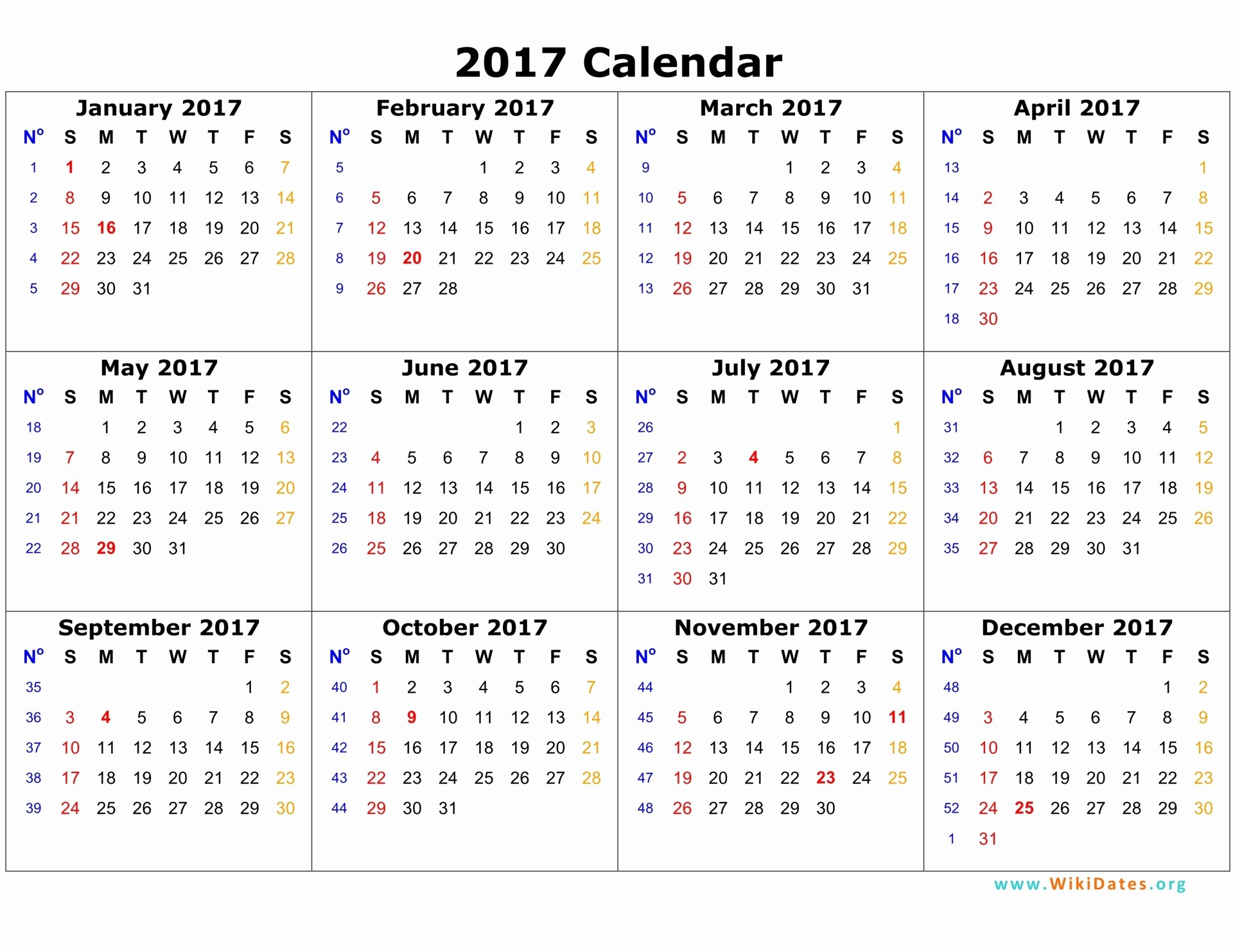 One Page Year Calendar 2017 Fresh 2017 Calendar