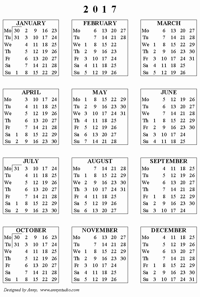 One Page Year Calendar 2017 Fresh Kalendaryo 2017