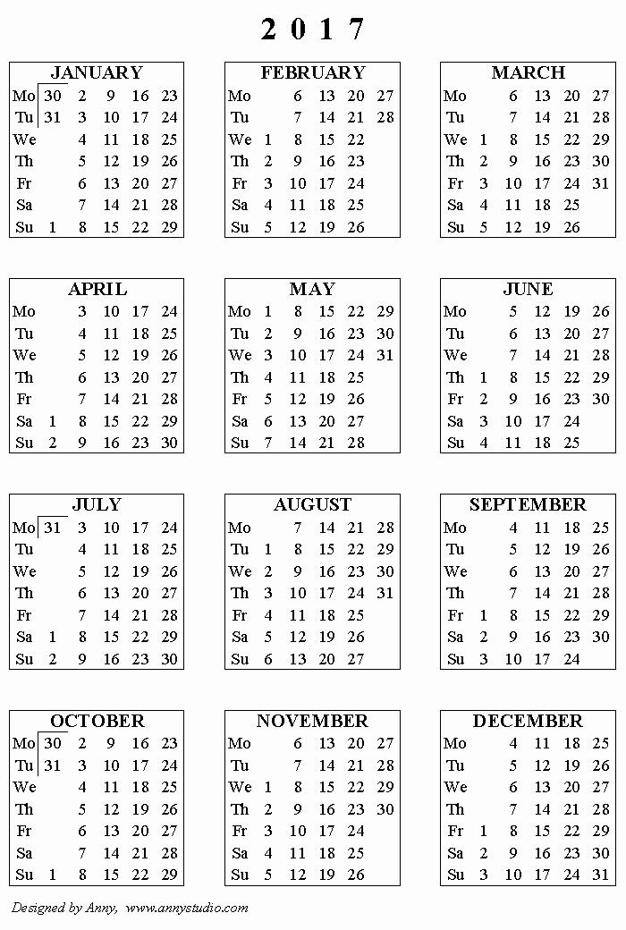 One Page Year Calendar 2017 Fresh Kalendaryo 2017