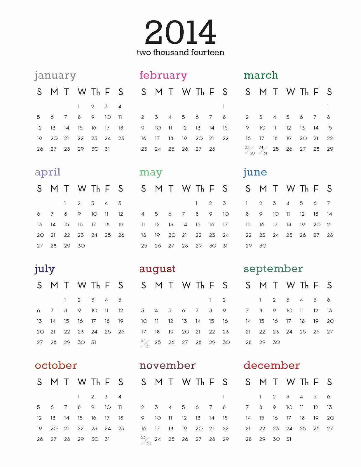 One Page Year Calendar 2017 Inspirational 2014 Calendar Printable E Page