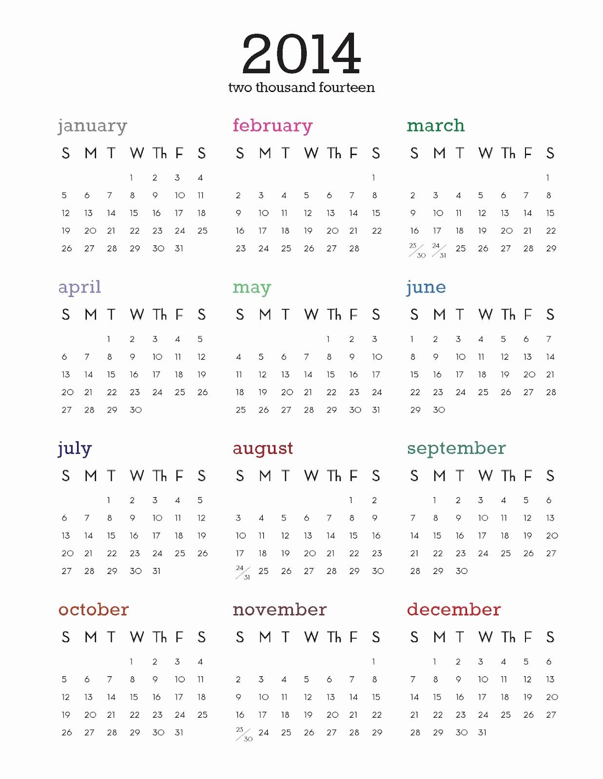 One Page Year Calendar 2017 Inspirational 2014 Calendar Printable E Page