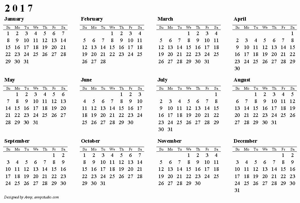 One Page Year Calendar 2017 Inspirational 2017 Calendar Canada