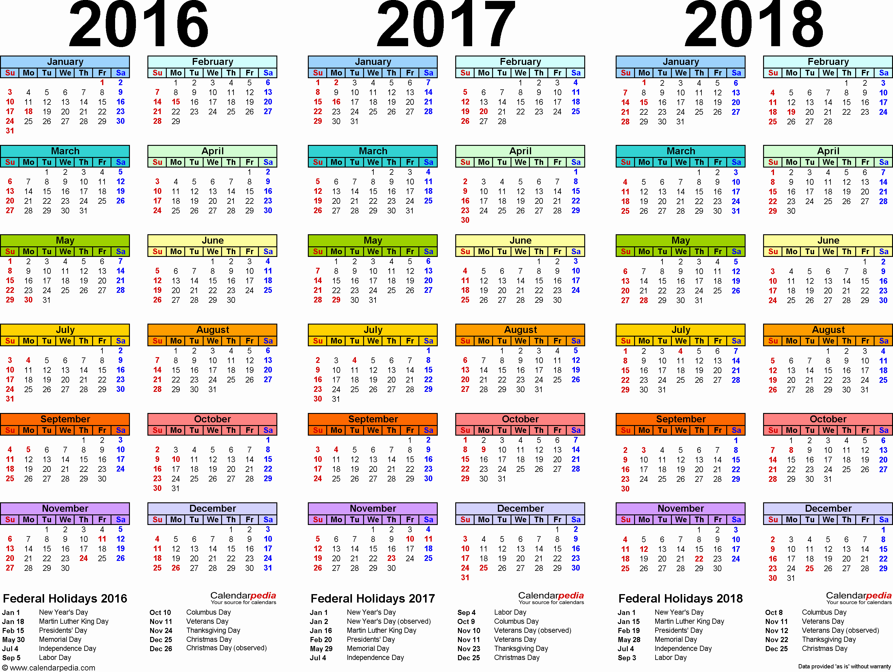 One Page Year Calendar 2017 Lovely 2016 2017 2018 Calendar 4 Three Year Printable Pdf Calendars