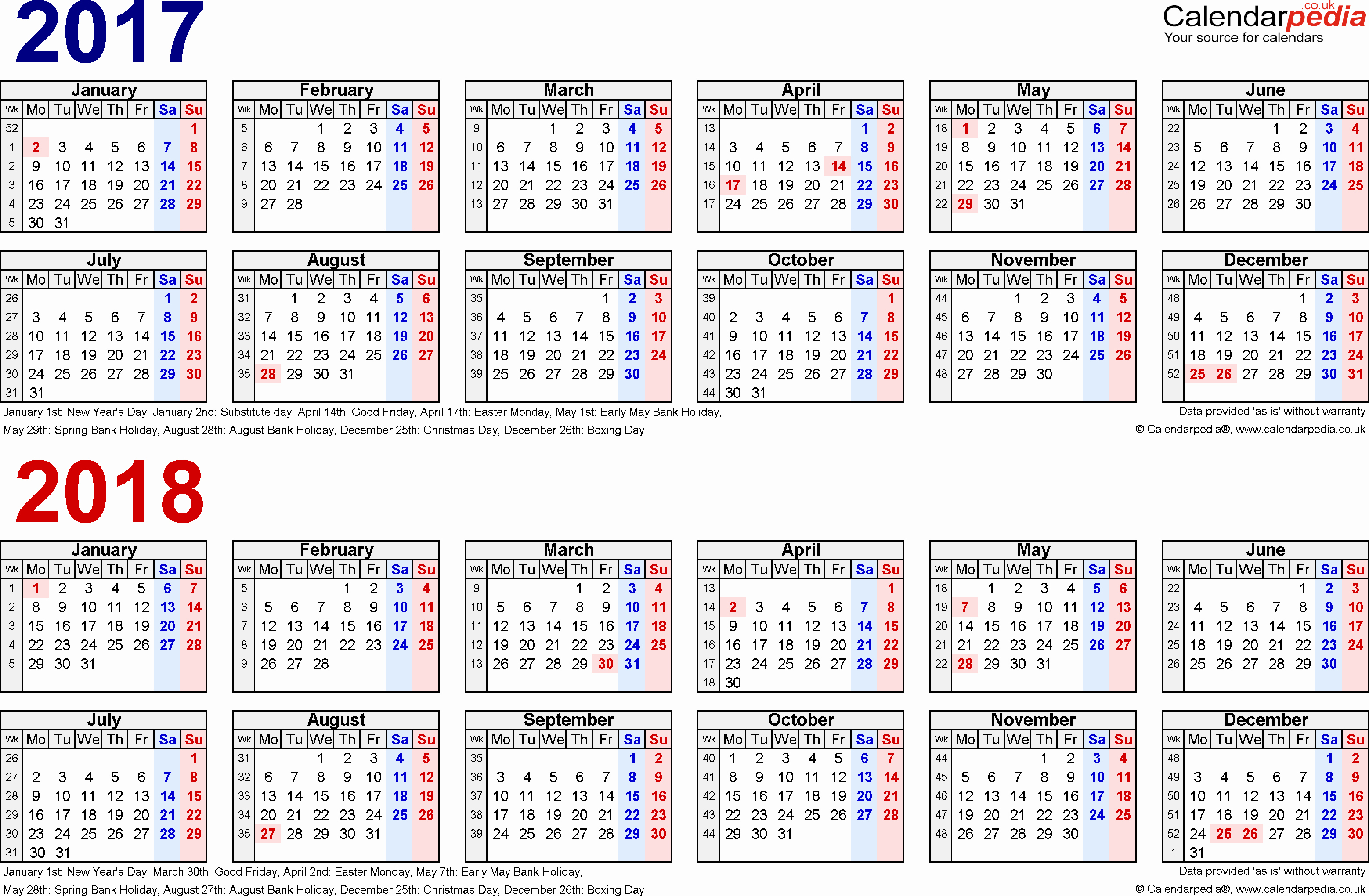One Page Year Calendar 2017 Lovely Two Year Calendars for 2017 & 2018 Uk for Pdf