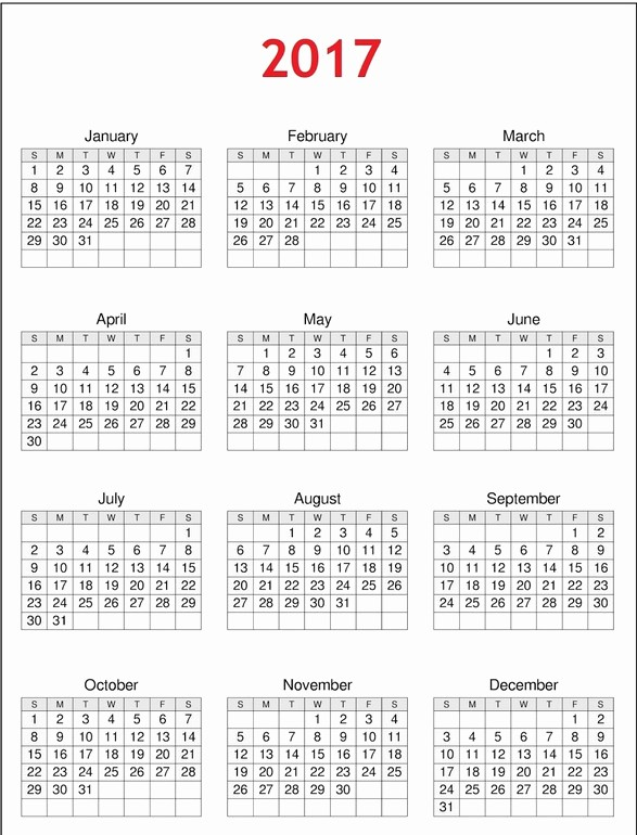 One Page Year Calendar 2017 Luxury 2017 Calendar E Page