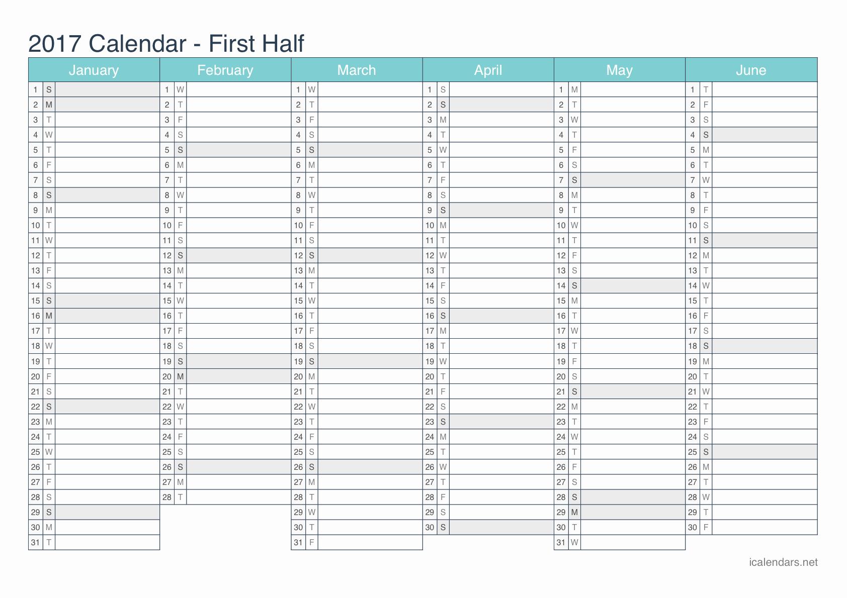 One Page Year Calendar 2017 Luxury Yearly Calendar 2017