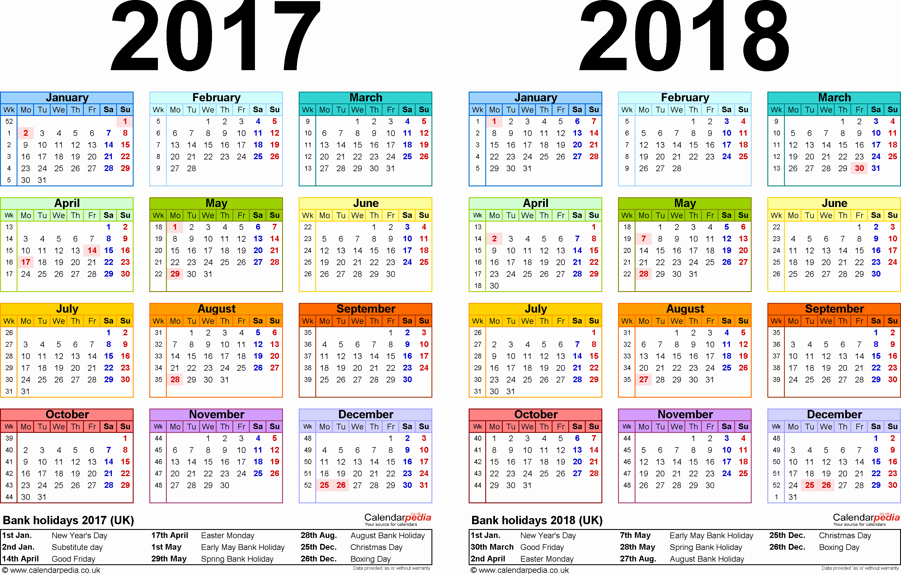 One Page Year Calendar 2017 New Two Year Calendars for 2017 & 2018 Uk for Word