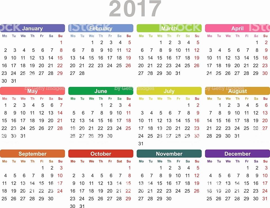 One Page Year Calendar 2017 New Year 2017 Annual Calendar Stock Vector Art