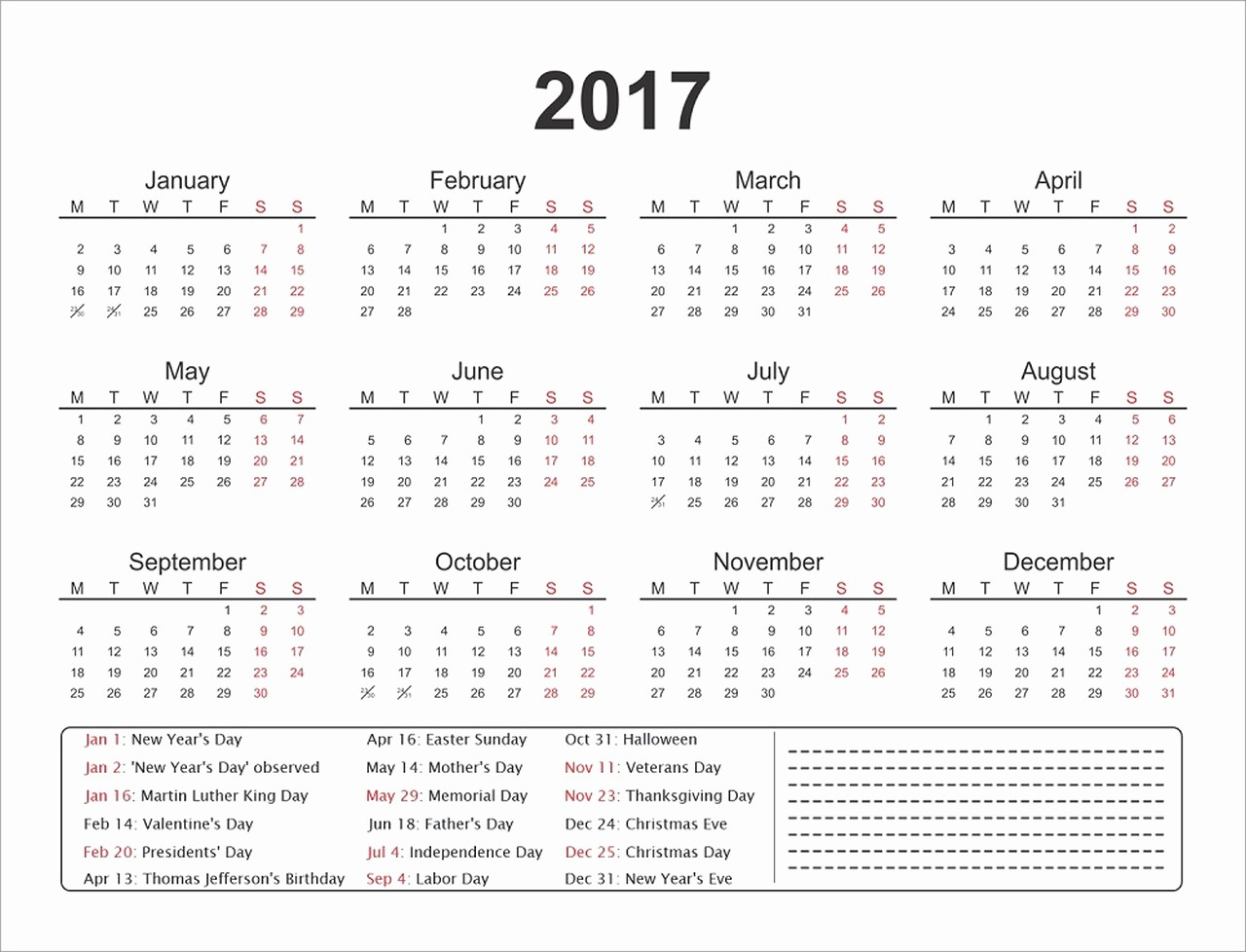 One Page Year Calendar 2017 Unique 1 Page Calendars 2017