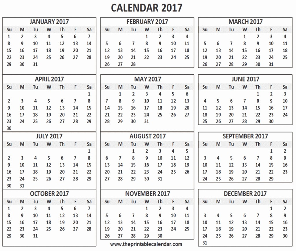 One Page Year Calendar 2017 Unique 12 Month Printable Calendar 2018 One Page