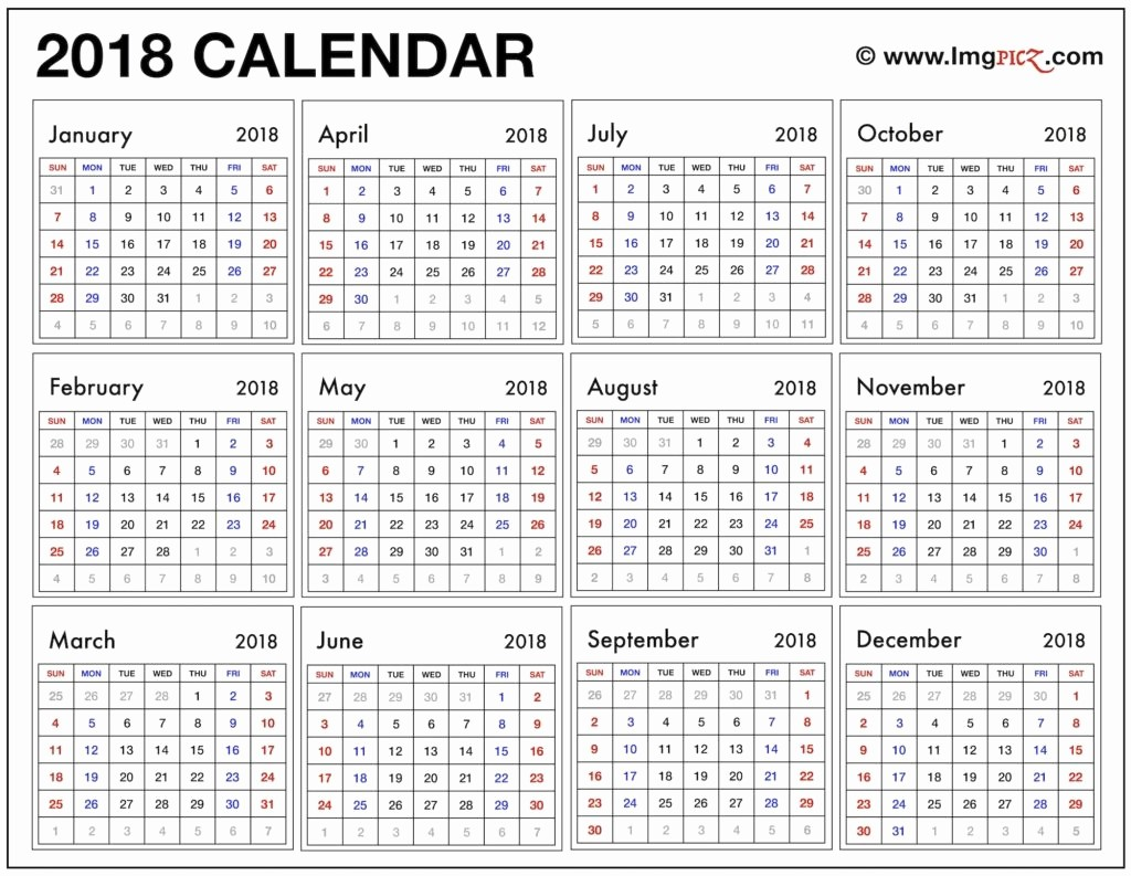 One Page Year Calendar 2017 Unique 2018 Year at A Glance Calendar Printable
