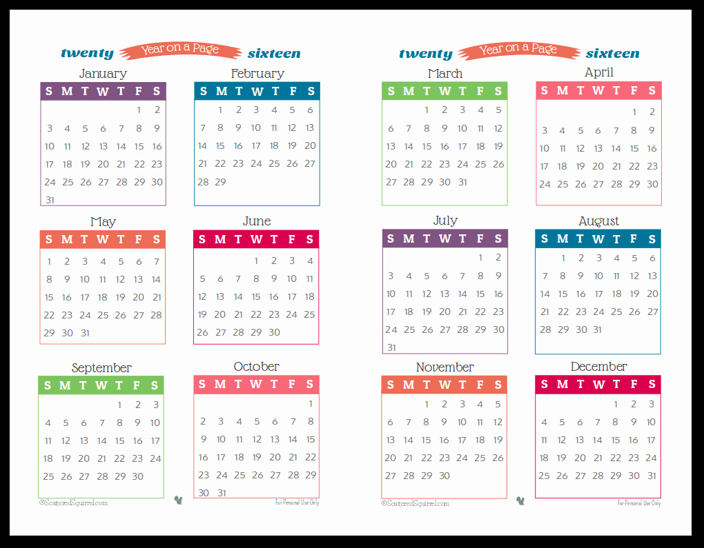 One Page Year Calendar 2017 Unique October 2016 Calendar Printable E Page – 2017 Printable