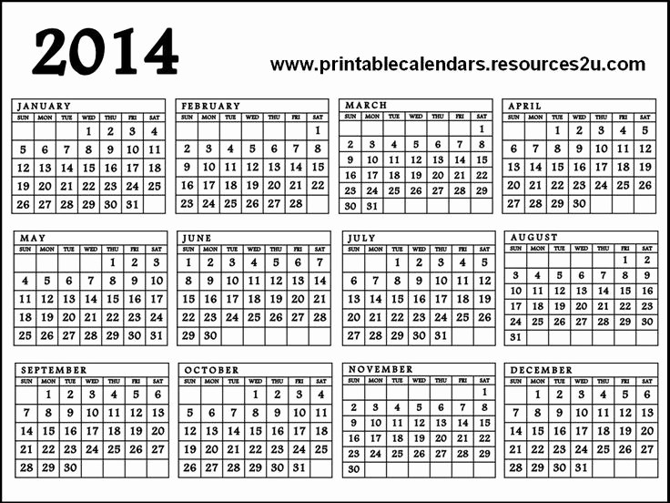 One Page Yearly Calendar 2015 Awesome 7 Best Of Year Calendar 2014 Printable E Page