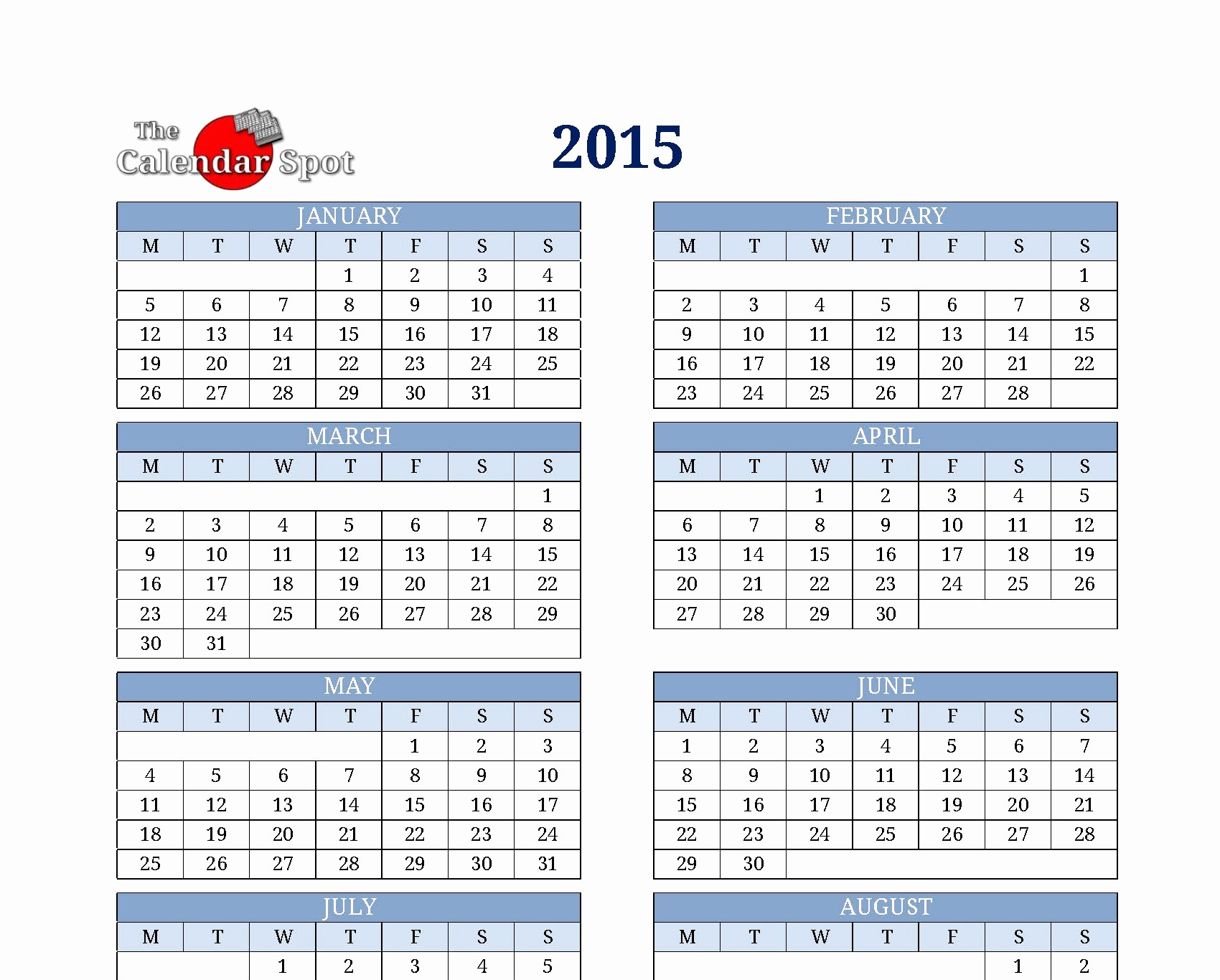 One Page Yearly Calendar 2015 Beautiful 1 Year Calendar 2016 Calendars Excel Templates