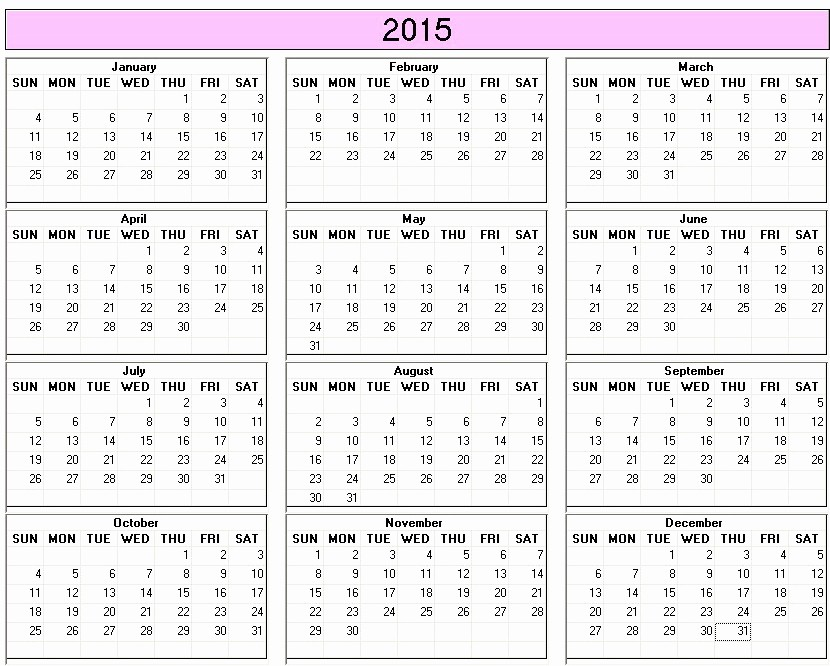 One Page Yearly Calendar 2015 Beautiful 2015 Calendar Printable Letters & Maps