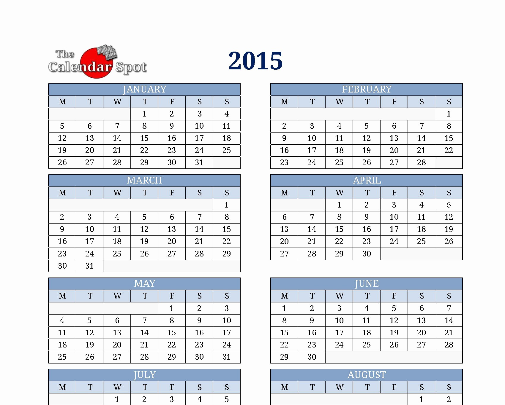One Page Yearly Calendar 2015 Beautiful 8 Best Of 2015 Year Calendar Printable E Page
