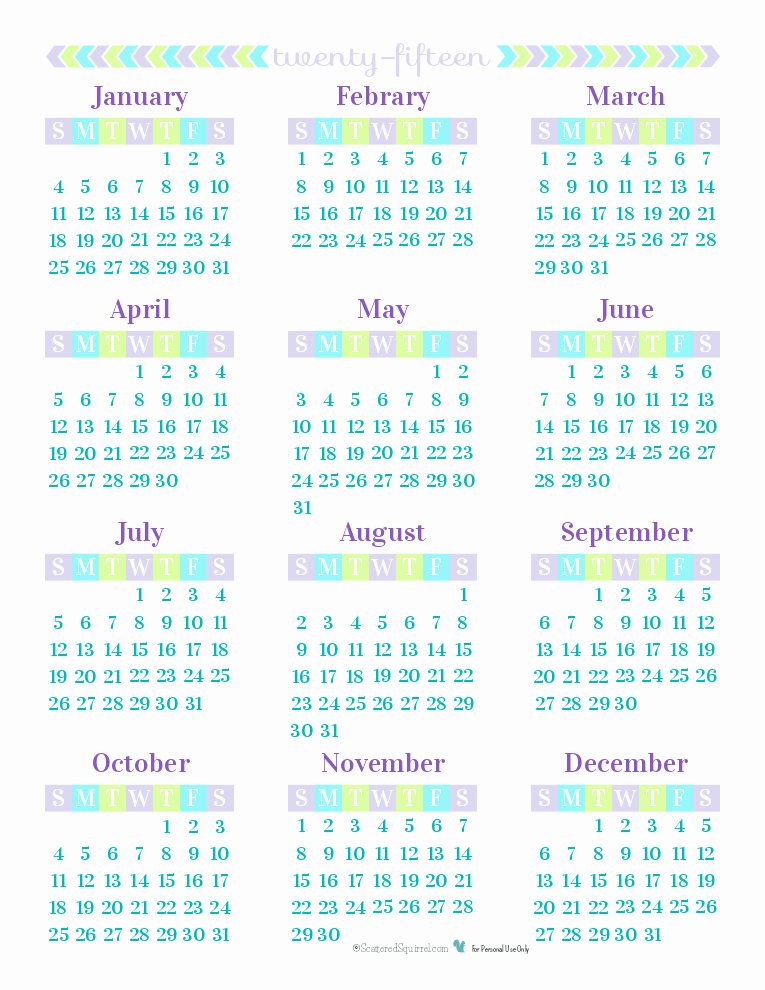 One Page Yearly Calendar 2015 Beautiful Day 26 2015 Year On A Page Printable Calendars