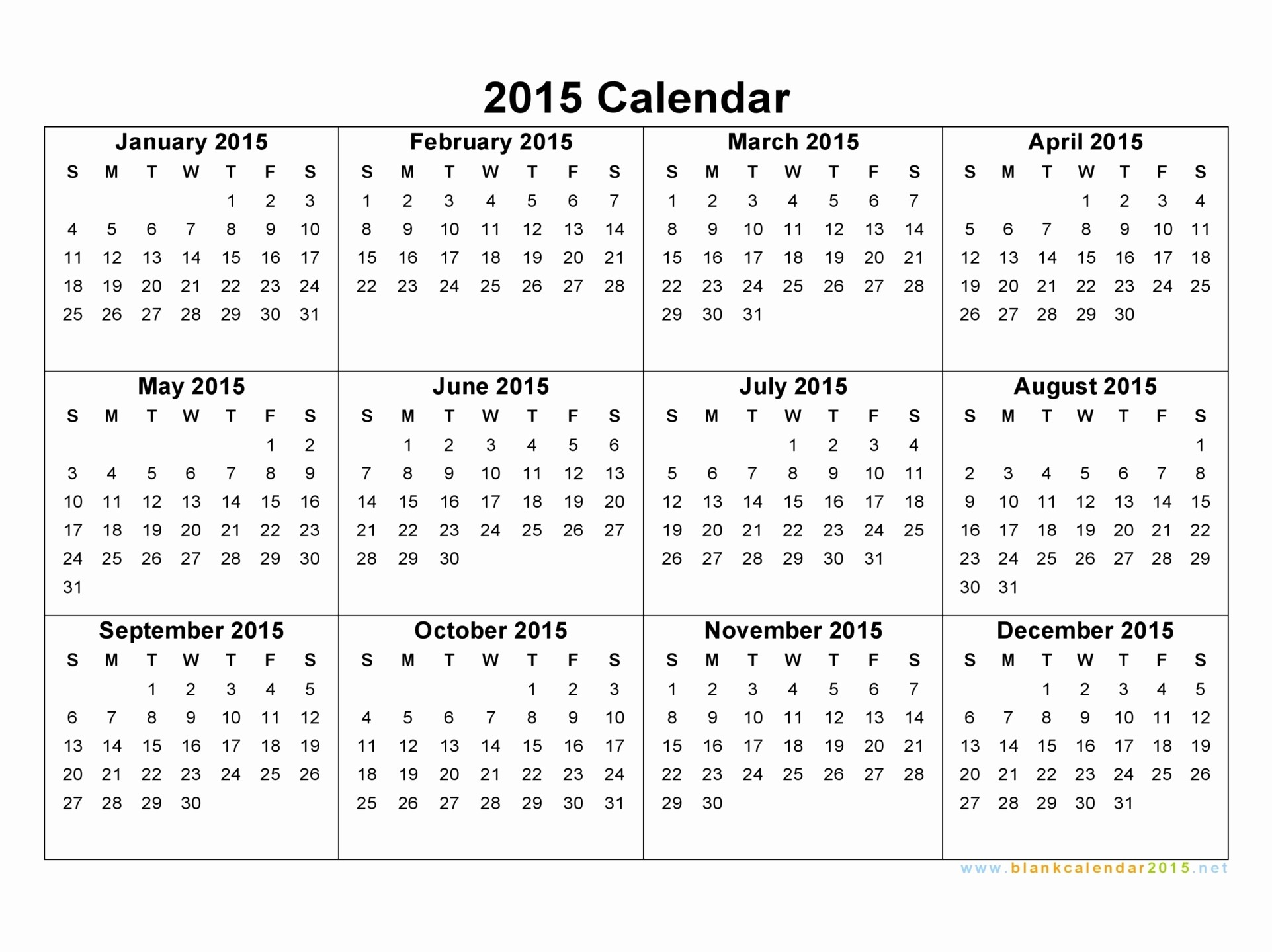 One Page Yearly Calendar 2015 Best Of 8 Best Of 2015 Year Calendar Printable E Page