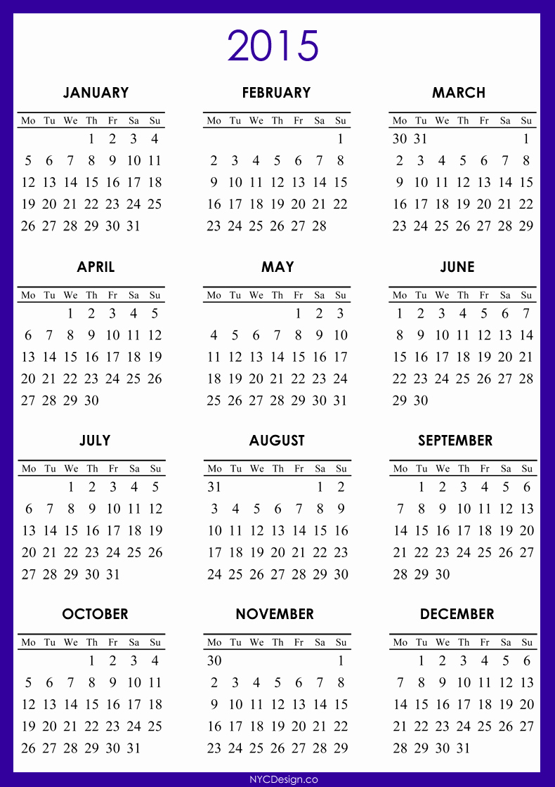 One Page Yearly Calendar 2015 Best Of Printable 2015 Calendar