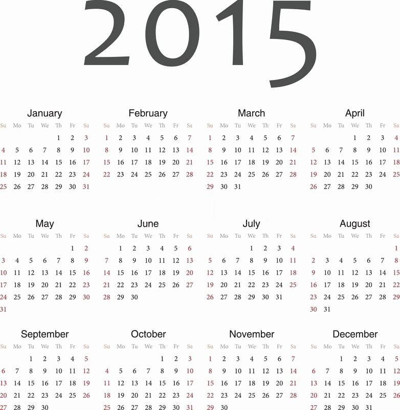 One Page Yearly Calendar 2015 Best Of Simple European 2015 Year Vector Calendar
