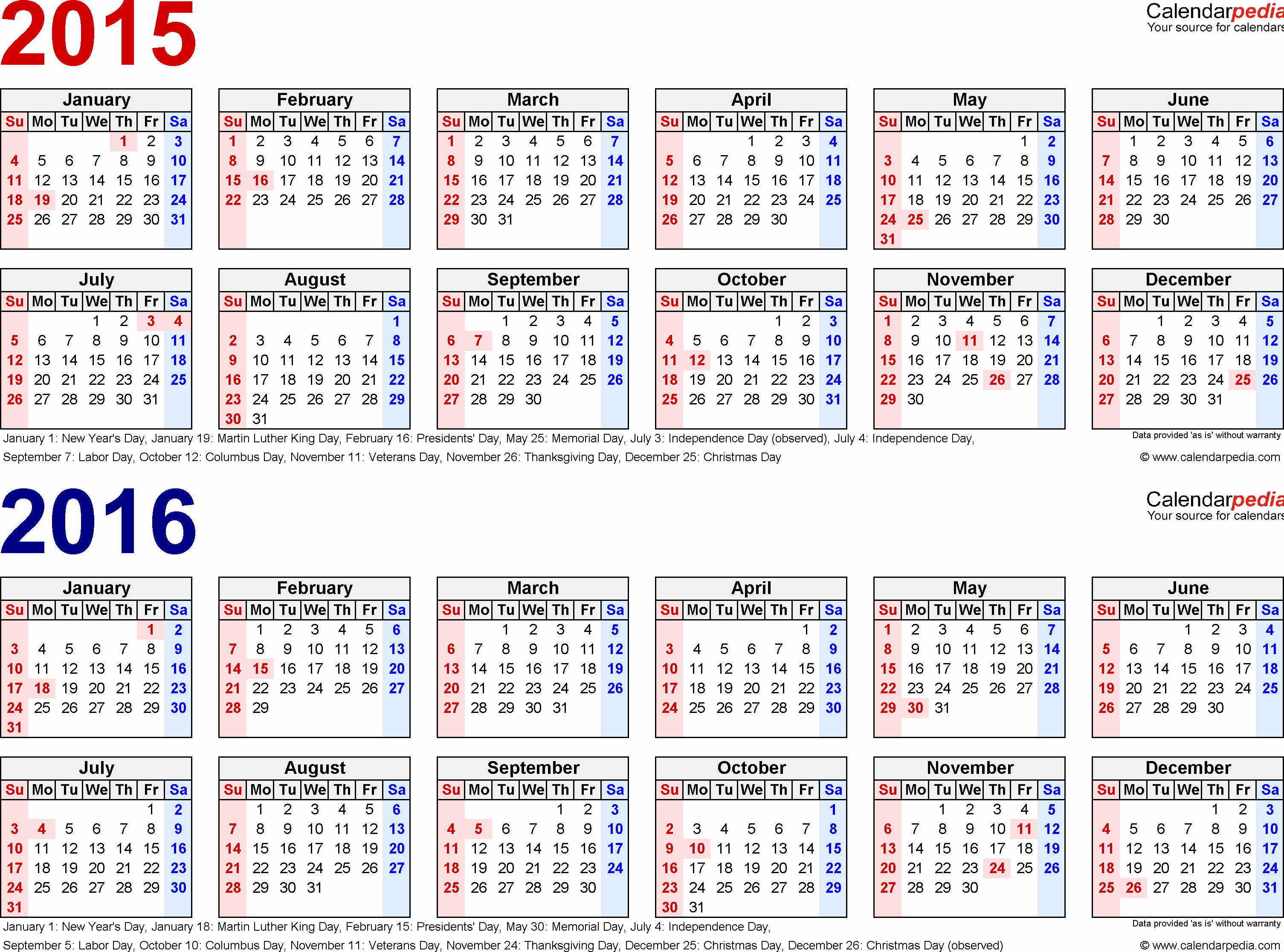 One Page Yearly Calendar 2015 Elegant 2015 2016 Calendar Free Printable Two Year Excel Calendars