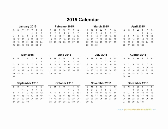 One Page Yearly Calendar 2015 Elegant 2015 Calendar Printable E Page