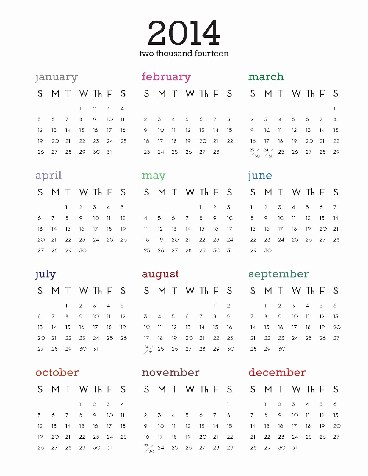 One Page Yearly Calendar 2015 Elegant Best S Of 2014 Calendar Printable E Page Year