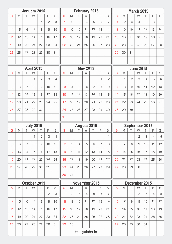One Page Yearly Calendar 2015 Elegant Download Free Printable 2015 Calendar E Page Pdf