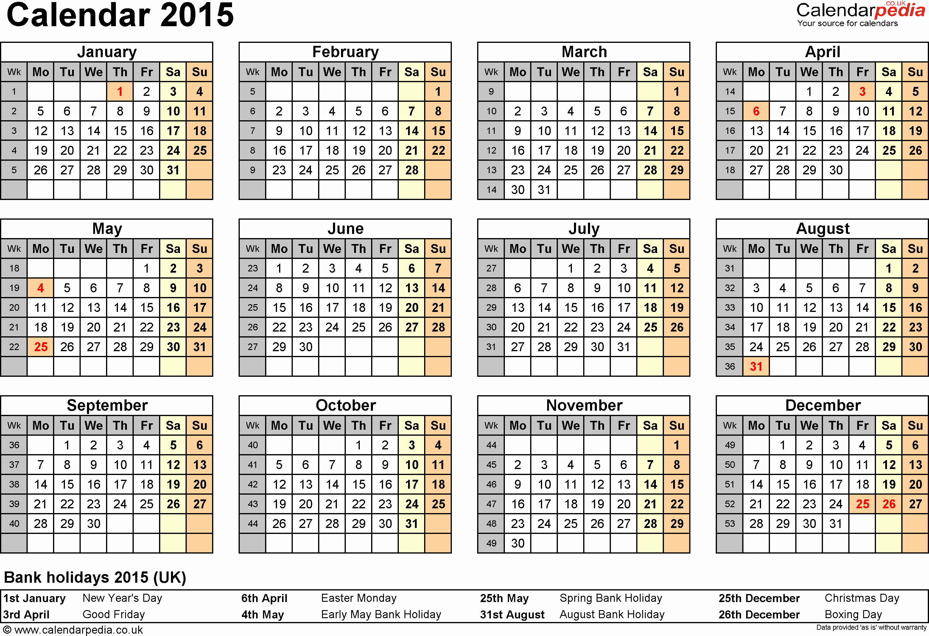 One Page Yearly Calendar 2015 Fresh Calendar 2015 Uk 16 Free Printable Word Templates
