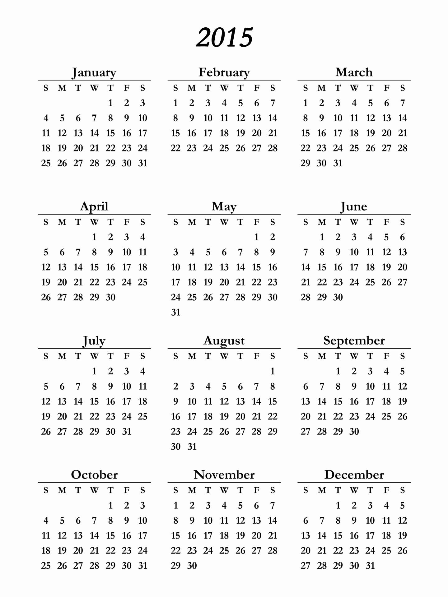 One Page Yearly Calendar 2015 Fresh Printable 2015 Calendar