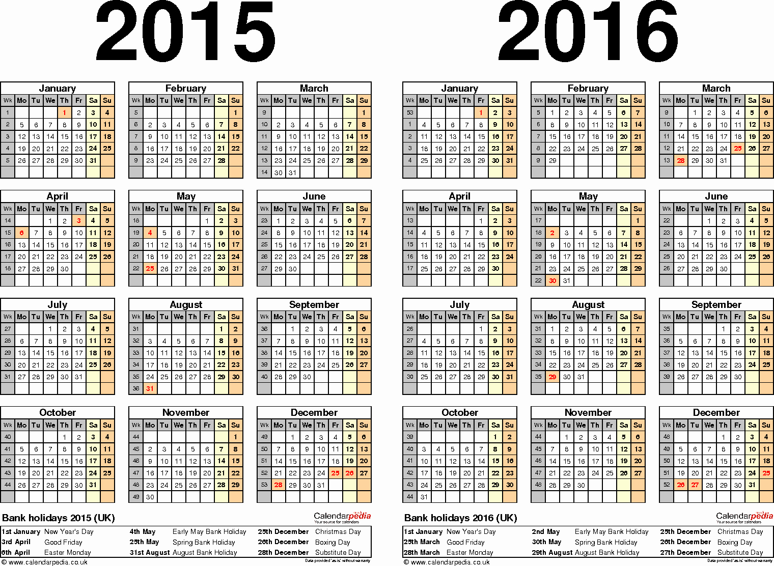 One Page Yearly Calendar 2015 Fresh Two Year Calendars for 2015 & 2016 Uk for Excel