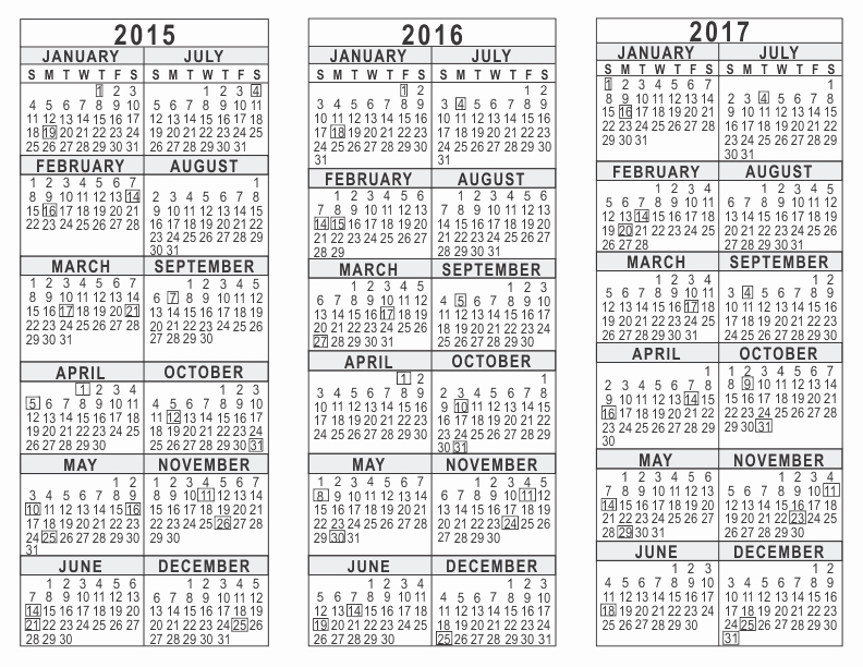One Page Yearly Calendar 2015 Inspirational 2015 2016 2017 3 Year Calendar