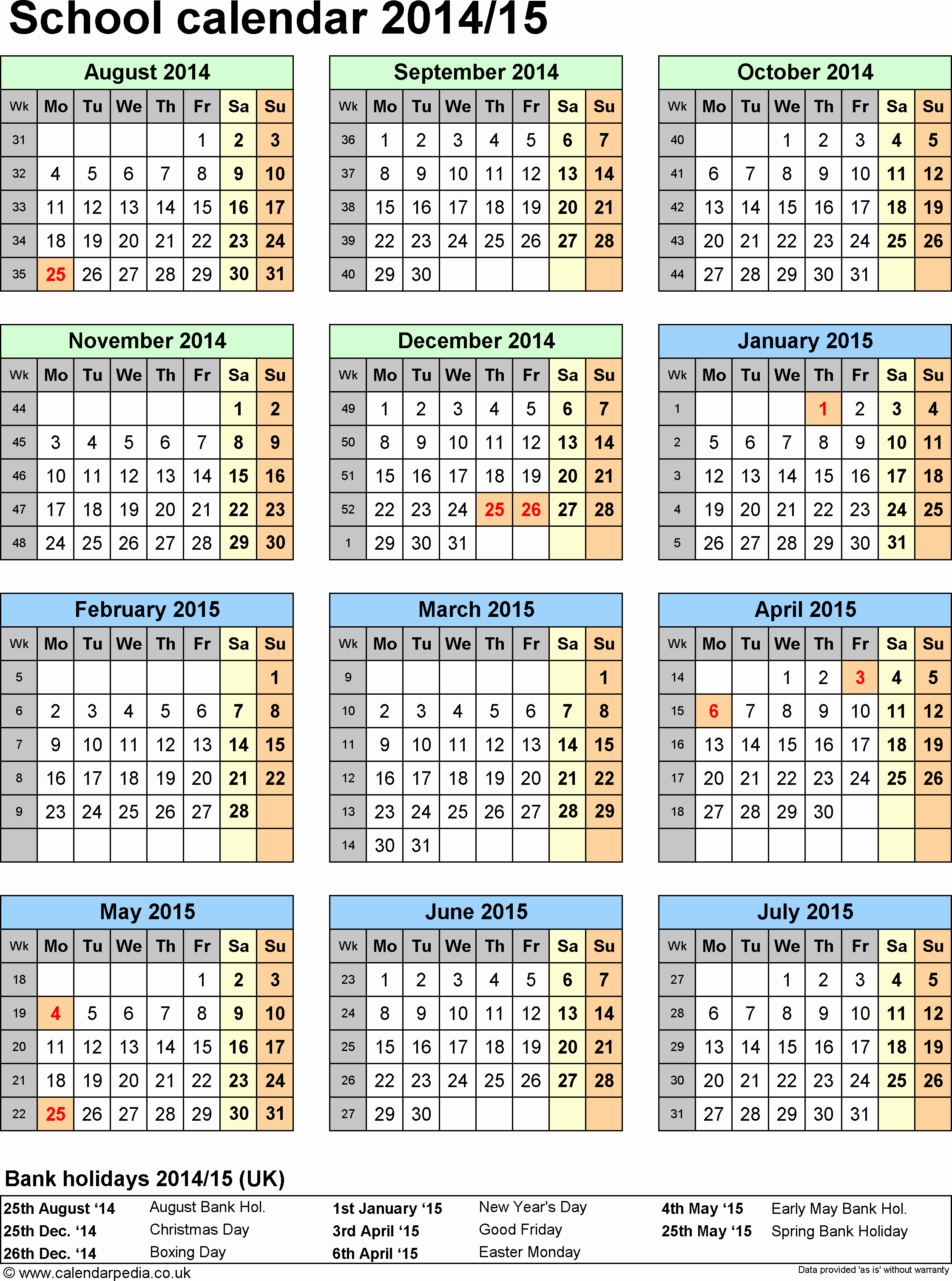 One Page Yearly Calendar 2015 Inspirational School Calendars 2014 2015 as Free Printable Word Templates