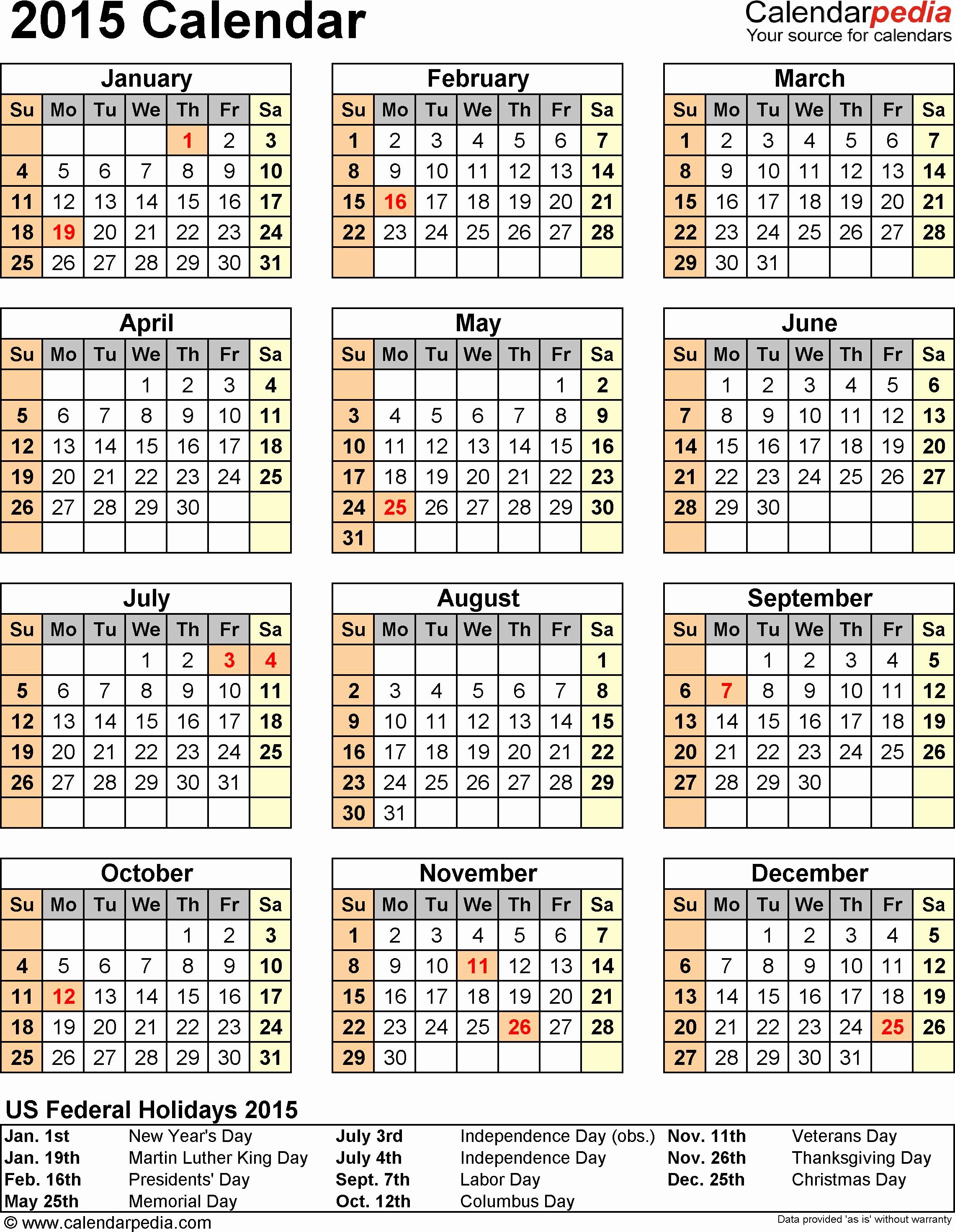 One Page Yearly Calendar 2015 New 2015 Calendar with Federal Holidays & Excel Pdf Word Templates