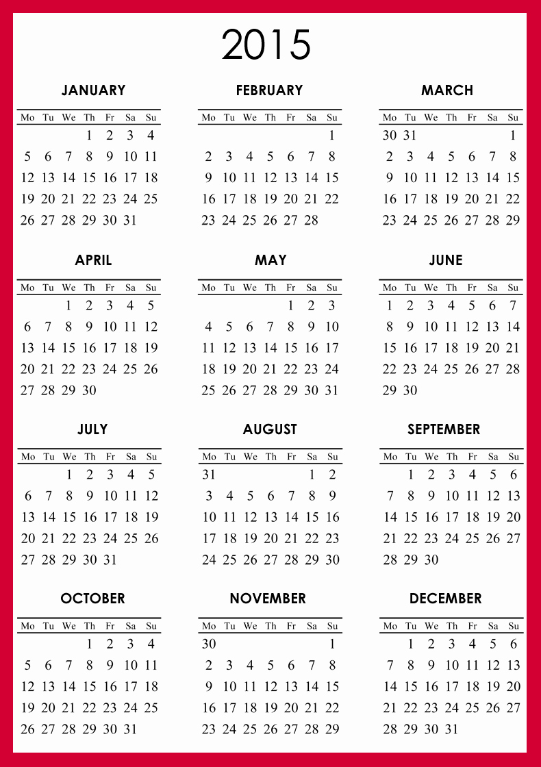 One Page Yearly Calendar 2015 New 2015 Printable Calendar 1 Page
