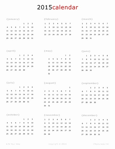 One Page Yearly Calendar 2015 New 8 Best Of 2015 Year Calendar Printable E Page