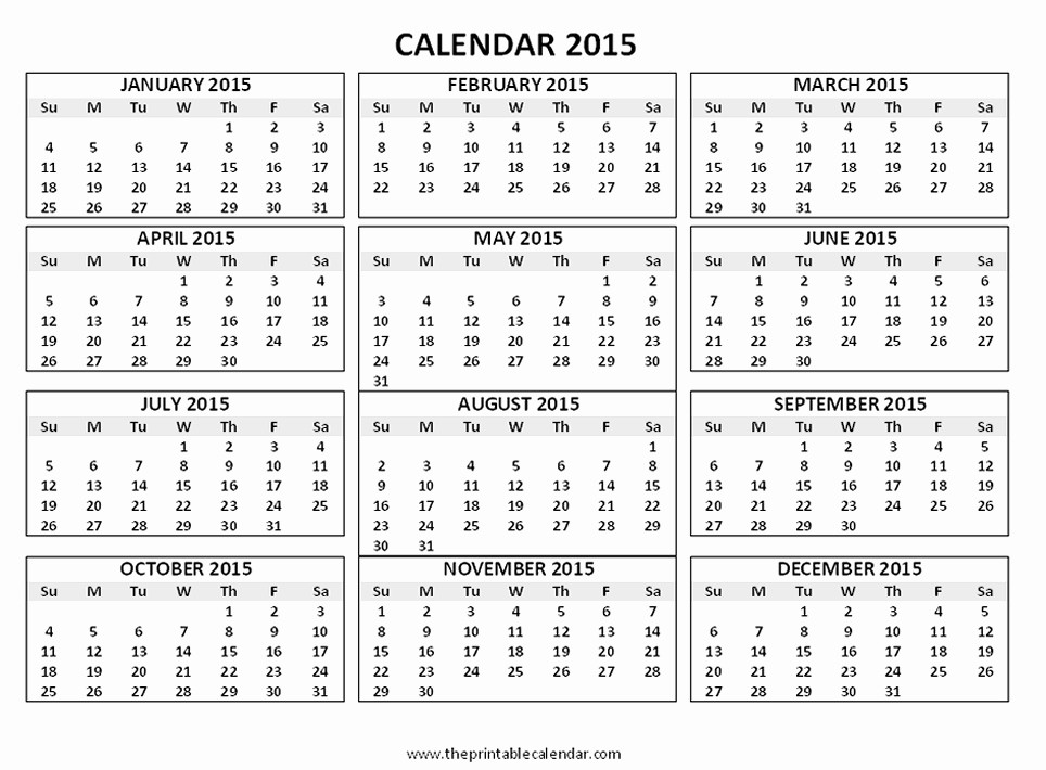 One Page Yearly Calendar 2015 New E Page Calendar Template 2015 Invitation Template