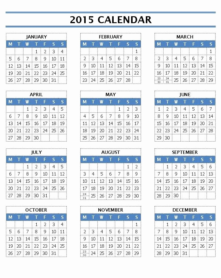 One Page Yearly Calendar 2015 Unique 2015 Calendar Templates