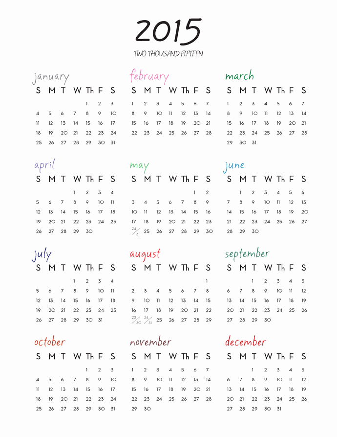 One Page Yearly Calendar 2015 Unique Leslie Jerkins 2015 E Page Calendar