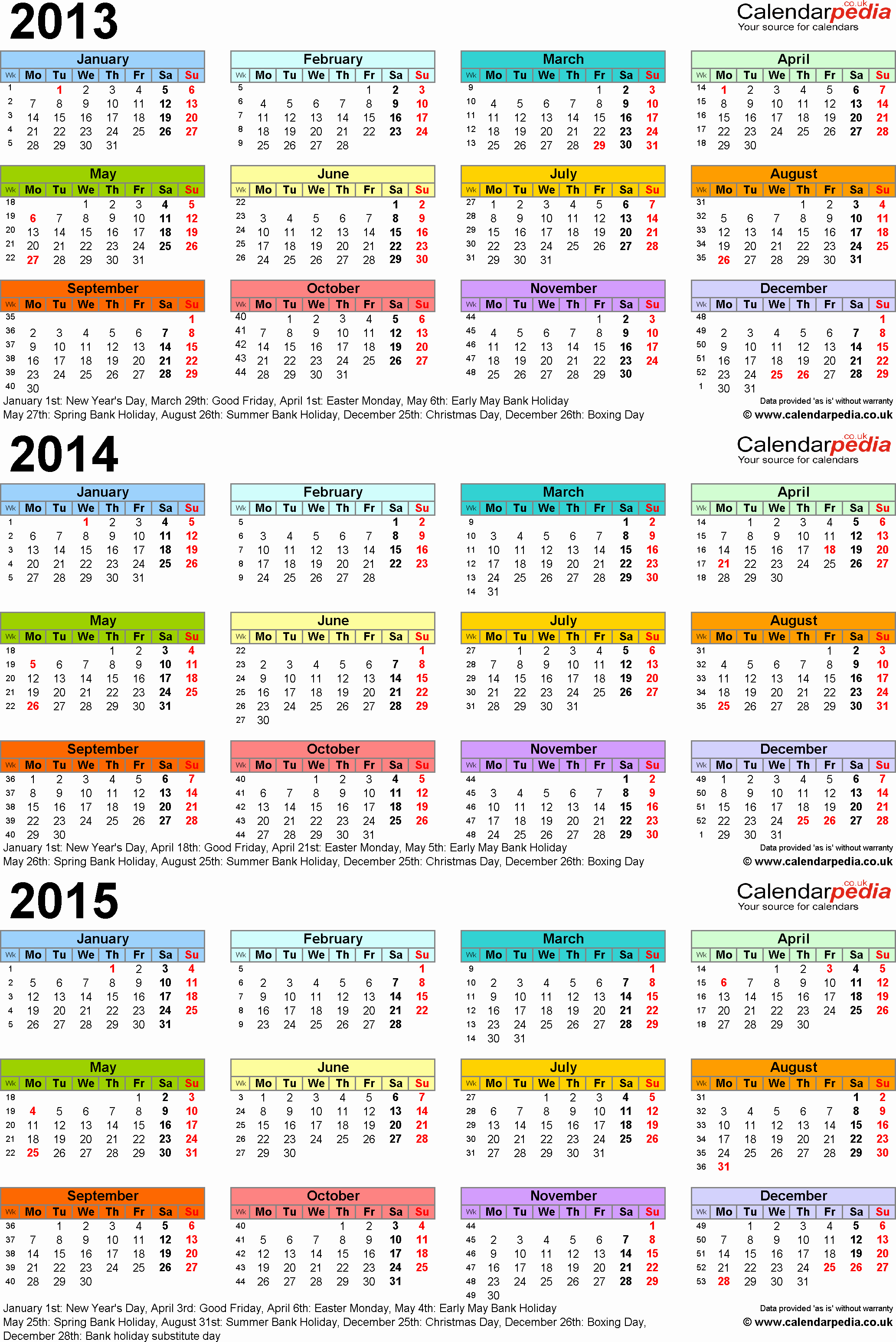One Page Yearly Calendar 2015 Unique Three Year Calendars for 2013 2014 & 2015 Uk for Pdf