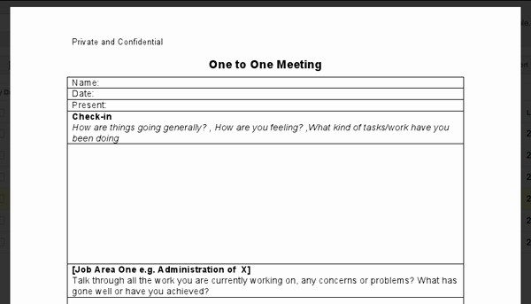 One to One Meeting Templates Awesome One On One Template One to One Meeting Notes 121 Job