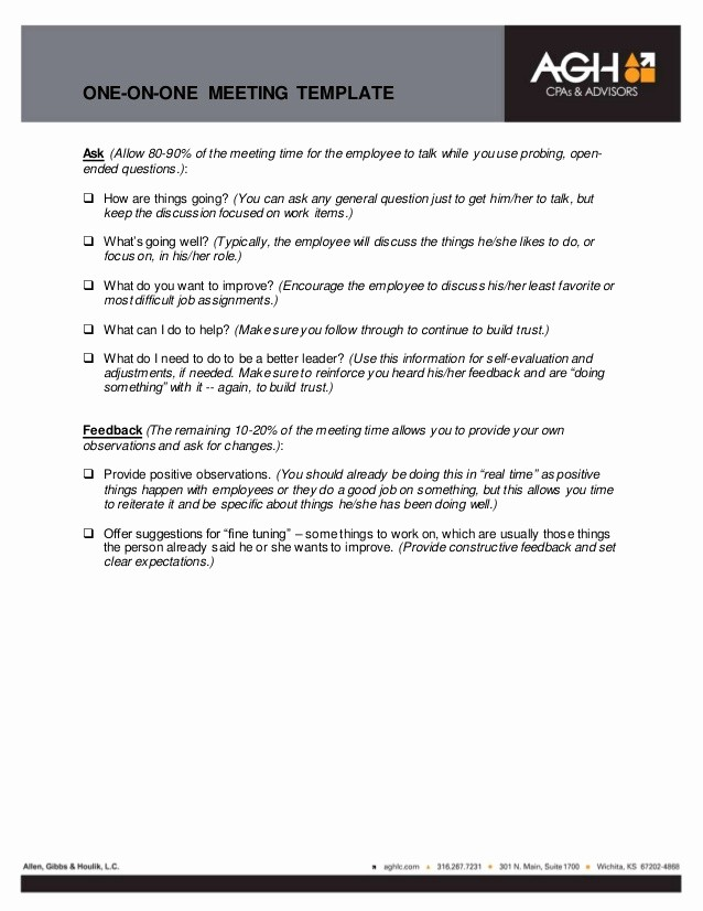 One to One Meeting Templates Best Of Employee Meeting & Feedback Template