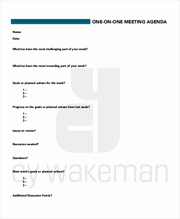 One to One Meeting Templates Lovely Meeting Agenda Template 10 Free Word Pdf Documents