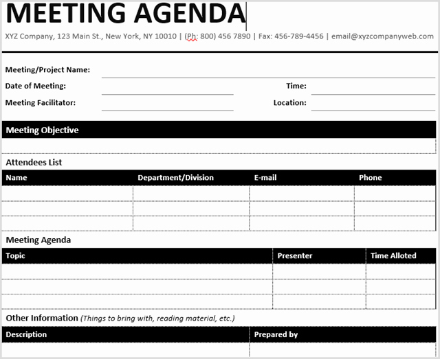 One to One Meeting Templates Unique 15 Best Meeting Agenda Templates for Word