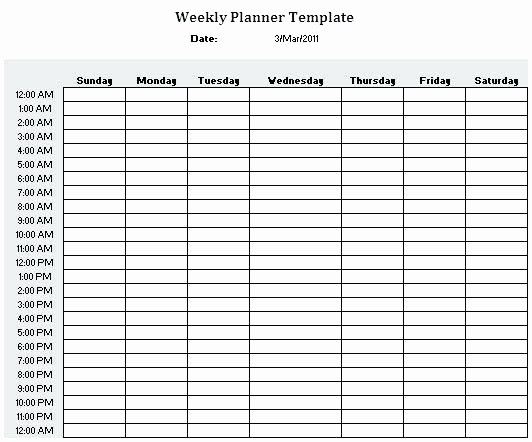 One Week Calendar with Hours Beautiful Hourly Weekly Schedule Template – Smartfone